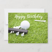 Golf happy birthday with golf ball and tee