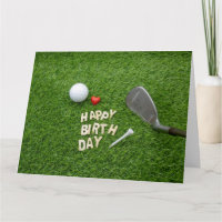 Golf Happy Birthday with golf ball and tee & love Card