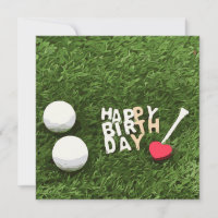 Golf happy birthday with golf ball and tee love card