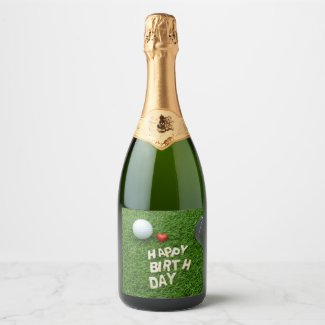 Golf Happy Birthday with love and golf ball Champagne Label