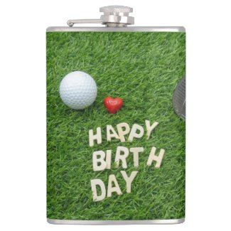 Golf Happy Birthday with love and golf ball Flask