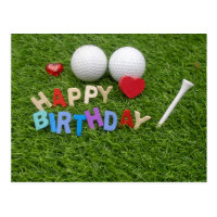 Golf happy birthday with text on green grass postcard