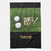 Golf Happy Birthday with two golf balls on green Kitchen Towel