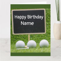 Golf happy birthday with writing on chalkboard card