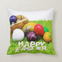 Golf Happy Easter with golf ball and colourful egg Throw Pillow