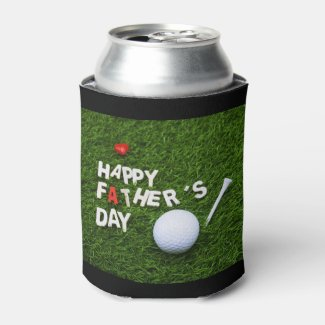Golf happy father's day with golf ball love dad can cooler