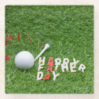 Golf Happy Father's day with golf ball on green Glass Coaster