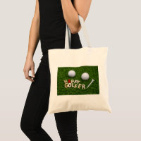 Golf Happy Golfer with golf ball on green Tote Bag