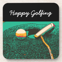 Golf happy golfing with putter and golf ball beverage coaster