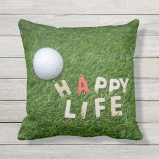 Golf Happy life is on green grass Outdoor Pillow