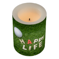 Golf Happy life with golf ball on green grass Flameless Candle