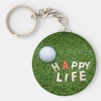 Golf Happy life with golf ball on green grass Keychain