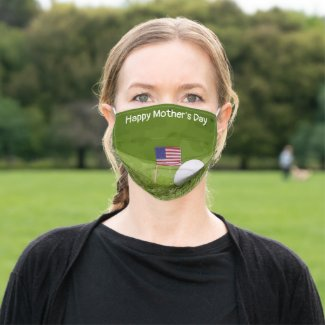 Golf Happy Mother's Day with flag of America USA Adult Cloth Face Mask