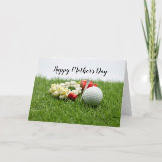 Golf Happy Mother's Day with flower on green grass Card