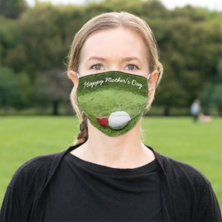 Golf Happy Mother's Day with love Adult Cloth Face Mask