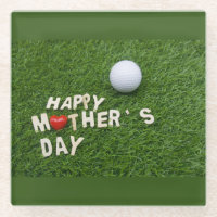 Golf Happy Mother's Day with love on green Glass Coaster