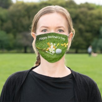 Golf Happy Mother's Day with orchid flowers Adult Cloth Face Mask