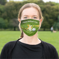 Golf Happy Mother's Day with orchid flowers Cloth Face Mask