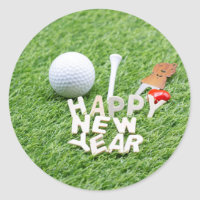 Golf Happy New Year with golf ball and gift Classic Round Sticker
