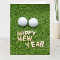 Golf Happy New Year with golf ball on green Card