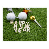 Golf Happy New Year with golf ball tee ornament Postcard