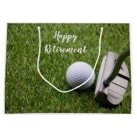 Golf Happy Retirement golf ball and Putter Golf Large Gift Bag