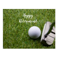 Golf Happy Retirement golf ball and Putter Golf Postcard