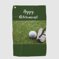 Golf Happy Retirement golf ball and Putter Golf Towel