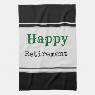 Golf Happy retirement on black background Golf Kitchen Towel