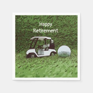 Golf happy retirement with golf ball and cart napkins
