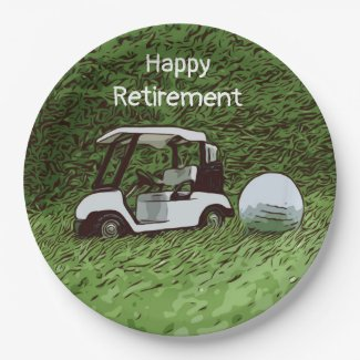 Golf happy retirement with golf ball and cart paper plate