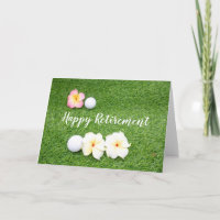 Golf Happy Retirement with golf ball and flowers Card