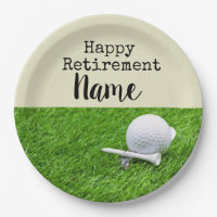 Golf Happy retirement with golf ball and tee Napki Paper Plate
