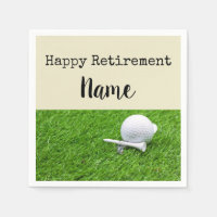 Golf Happy retirement with golf ball and tee Napkin