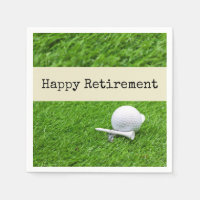 Golf Happy retirement with golf ball and tee Napkins