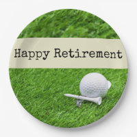 Golf Happy retirement with golf ball and tee Paper Plate