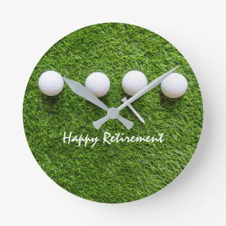 Golf Happy retirement with golf ball and tee Round Clock