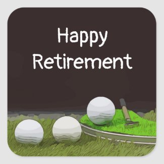 Golf happy retirement with golf ball and tee square sticker
