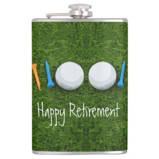 Golf Happy Retirement with golf ball and tees Flask