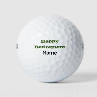 Golf happy retirement wording on golf ball