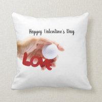 Golf Happy Valentine's Day to Golfer Throw Pillow