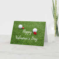 Golf Happy Valentine's Day with love and golf ball Card