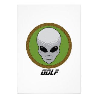 Golf Head Alien Custom Invitation
