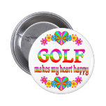 Golf Heart Happy Pinback Button
