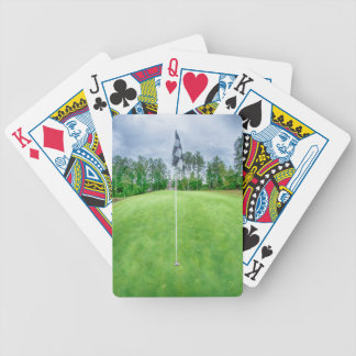 golf hole flag pole bicycle playing cards