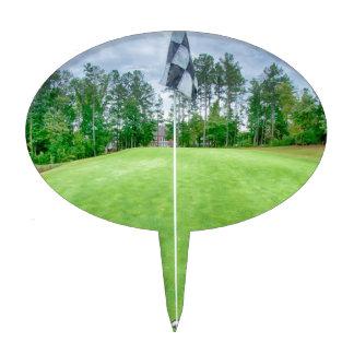 golf hole flag pole cake topper