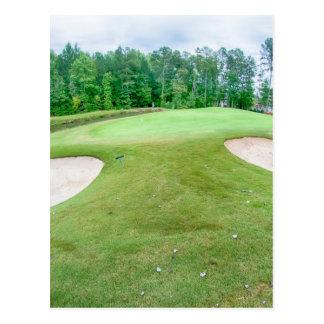 golf hole flag pole postcard