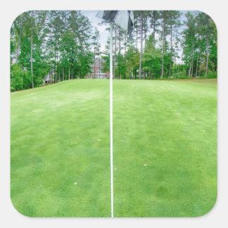 golf hole flag pole square sticker