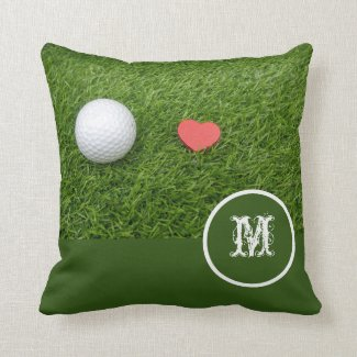 Golf hole in love on green grass with love throw pillow
