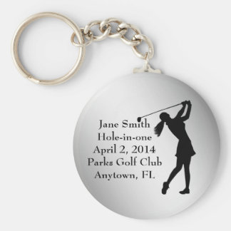 Golf Hole-in-one Commemoration, Customizable Basic Round Button Keychain